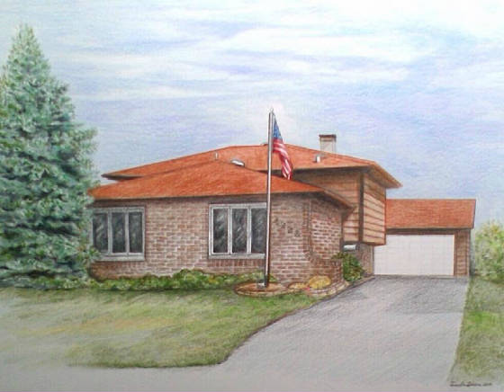 house drawing coloured pencil pastel