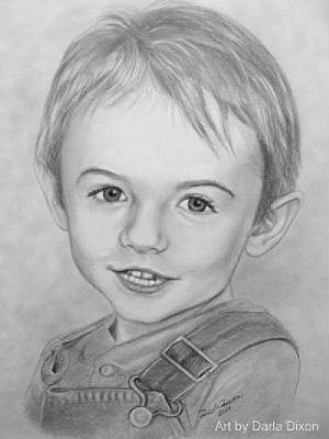 little boy pencil portrait drawing from photo