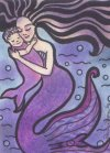 18 Mermaid Mom and Baby Indian Ink Colored Pencil