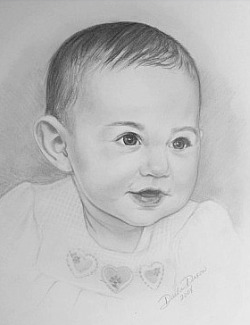 baby toddler pencil drawing from photo