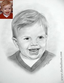 pencil portrait from photo of little boy