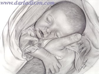 baby with father's hands drawing sketch