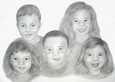 pencil portrait drawn children family group