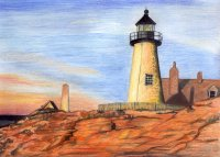 colored pencil drawing lighthouse sunset art