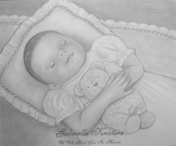 baby girl stillborn pencil portrait drawing