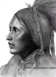 pencil portrait kiowa native american warrior