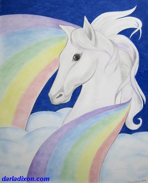 child horse art rainbow colored pencil artwork