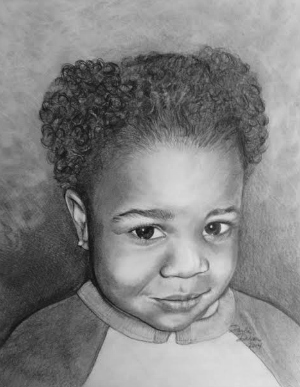 photo of little girl converted to real pencil art